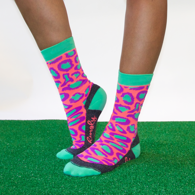Panther pink green crew socks